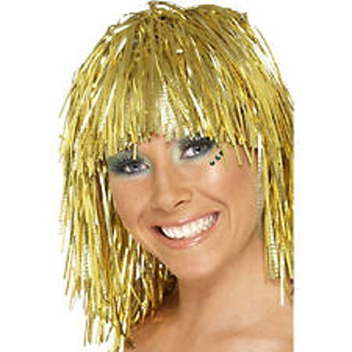 Mardi Gras Tinsel Wig (1 ~ Gold Tinsel Wig ~ New ~ Halloween Costume, Masquerade Party)