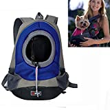 Pet Carrier, Wanty Creative Durable Comfortable Fabric Mesh Head Out Design Pet Puppy Dog Front Carrier Bag Pack Backpack Fit for Small Dogs Portable for Outdoor Travel Hiking (M, Blue)