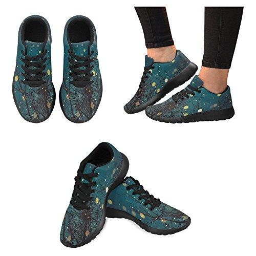 Interestprint Femmes Jogging Running Sneaker Léger Aller Facile À Pied Confort Décontracté Chaussures De Course Chevron Zigzag Noir Et Blanc Modèle Sans Couture Avec Poli Doré Polka Dots Multi 1