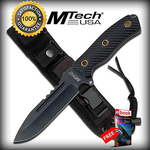Mtech 9.75'' FIXED BLADE Black G10 Handle Full Tang Combat SHARP KNIFE with Sheath Combat Tactical Knife + eBOOK by Moon Knives]()