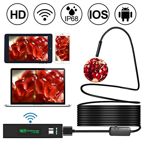 [Upgraded Version] WiFi Endoscope, Shopline 1200P HD Wireless Inspection Endoscope with 8 LEDs 2.0 Megapixels Waterproof Snake Camera for Android, iPhone, Tablet, iPad and more (10m / 33FT)