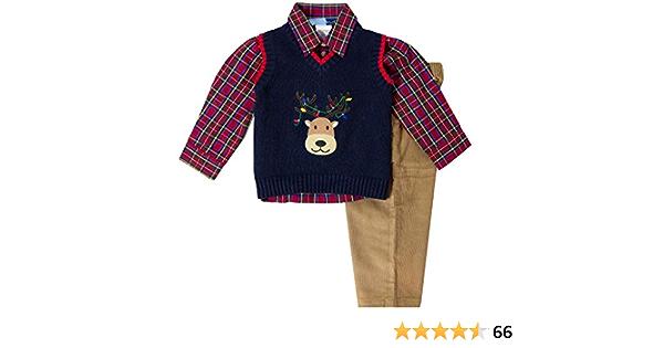 Good Lad Toddler Boys Navy Sweater Set with Reindeer Applique