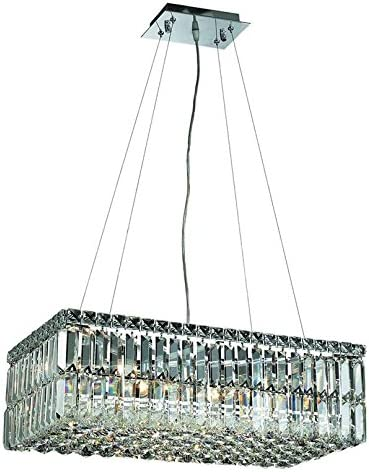 Elegant Lighting 2034D24C/RC Royal Cut Clear Crystal Maxim 6-Light Crystal Pendant