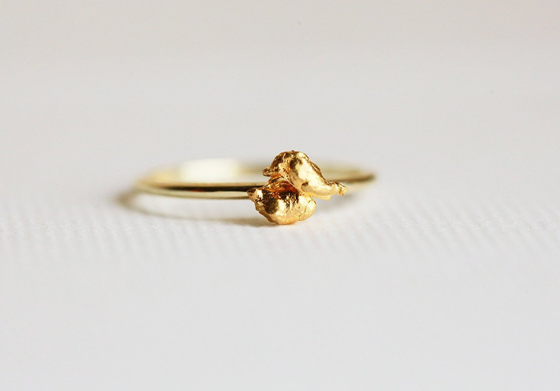 Amazon.com: 24k Gold Ring, Solid Gold Nugget Ring, Pure Gold ...