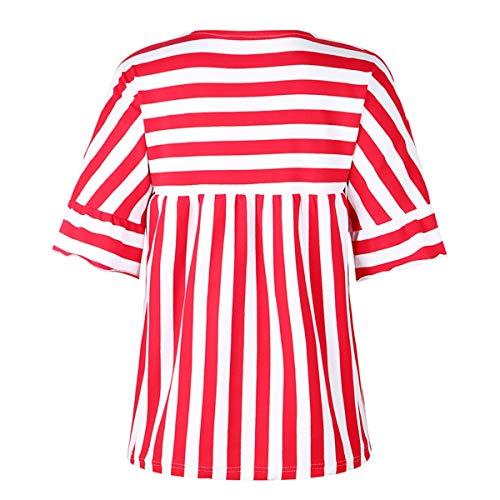 Manga Estampado Campana Abertura Rojo Cuello Rayas Camiseta Con A Mujer O De Blusa Casual Tfwaxfgq