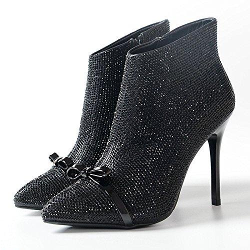 De Botas Proa De Alto Diamantes Un Botas Tacón De De De ColorTreinta CuatroBlack Con Y KHSKX Zapatos De Fino Invierno Botas Moda Mujer wzZIgqa