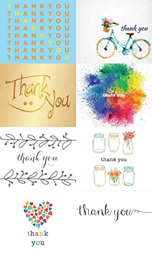Classic Thank You Note Cards - 32 Thank You Cards for $12.49 - 8 Designs - Blank Cards - Blank Matching Envelopes Included
