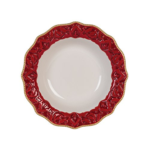 Fitz and Floyd 49-675 Renaissance Holiday Soup Bowl Cereal, Red White ()