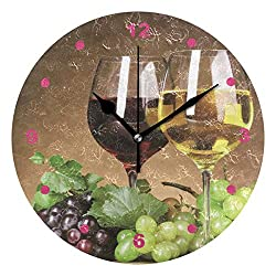 Anruixian Grape Wine Wall Clock Non-Ticking Silent 9.5 Inch Round Acrylic Clock Home Office School Decor