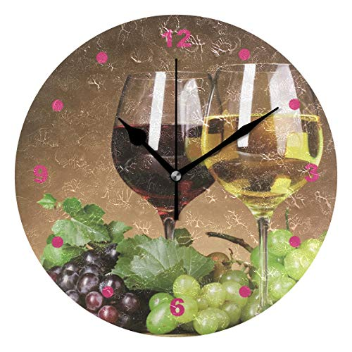 Anruixian Grape Wine Wall Clock Non-Ticking Silent 9.5 Inch Round Acrylic Clock Home Office School Decor