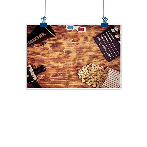 Simple Life Minimalist Movie Theater,Retro Cinema Objects on a Wooden Table Top View Analog Vintage Technology,Multicolor 32
