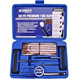 WYNNsky Heavy Duty Tire Repair Tools Kit - 60 Pcs Set For Motorcycle, ATV, Jeep, Truck, Tractor Flat Tire Puncture Repair