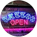 AdvpPro 2C Tattoo Open Walk-in-Welcome Décor Display Dual Color LED Neon Sign Blue & Red 16'' x 12'' st6s43-i2555-br