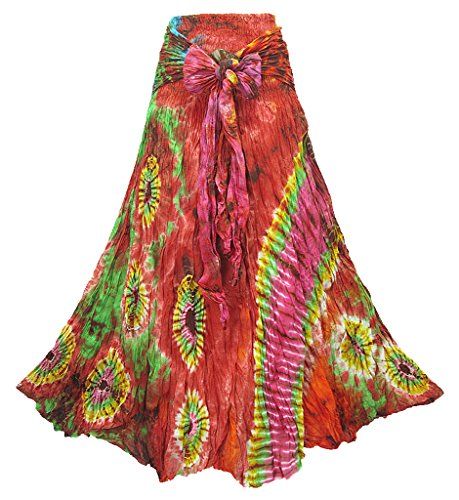- Women's Tie Dye Smock Waist Tie Waist Crinkle Cotton Skirt with Coconut Buckle - S0484