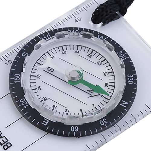 Transparent /& Noir Mini-Plaque de Base Compass Map Scale Ruler Camping en Plein air Randonn/ée p/édestre /à v/élo Scouts Compass Militaire