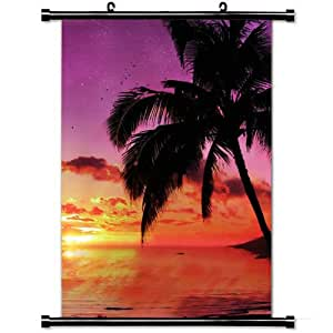 Fashion Home Decor with Palm Tree Tree Evening Sky Planet Stars Sea Decline Art Design Wall Scroll Poster Fabric Painting 23.6 X 35.4 Inch (60cm X 90 cm)