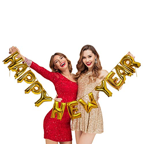 Treasures Gifted Gold Happy New Years Eve Party Supplies 2020 Calendar or Lunar Golden New Year 16 Inch Mylar Foil Letter Balloon Banner Decor NYE Decorations