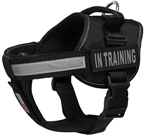 """Dogline Unimax Multi-Purpose Vest Harness for Dogs and 2 Removable in Training Patches (Black, Large (28"""" - 38"""")) with Velcro Brand Backing from Dogline"""