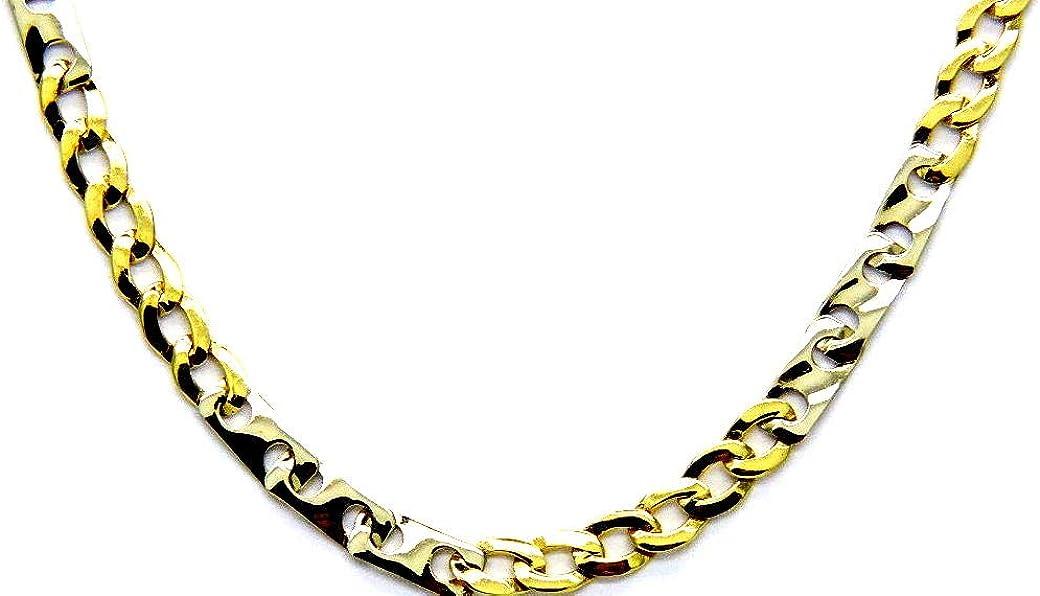 Collar oro 18kt Blanco Amarillo–Cadena para hombre diseño bicolor cm 50