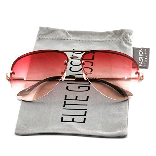- Elite Gradient Oceanic Lens Oversized Rimless Metal Frame Unisex Aviator Sunglasses (Gold Frame/Pink Lens, 2.5)