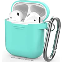Airpods Case, AIKER Protective Airpods Cover Soft Silicone Chargeable Headphone Case with Anti-Lost Carabiner for Apple Airpods Charging Case (Teal)