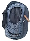 Irish Lyre harp 10 metal strings in Rosewood engraved Painted Black