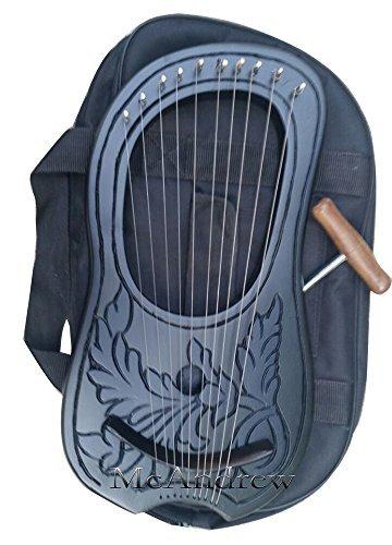Irish Lyre harp 10 metal strings in Rosewood engraved Painted Black by McAndrew