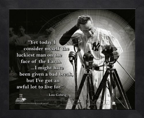 Lou Gehrig New York Yankees Pro Quotes Framed 8x10 Photo #1