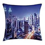 Scenery Decor Throw Pillow Cushion Cover by Ambesonne, Metropolitan City Life with Buildings Lights Town Roads Landscape Picture, Decorative Square Accent Pillow Case, 16 X 16 Inches, Multicolor