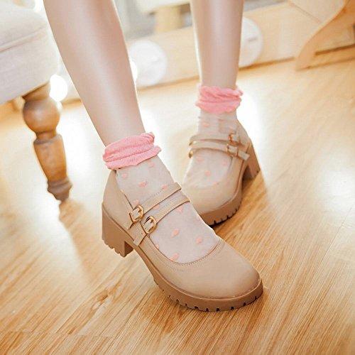 Western Charm Shoes Platform Mid Beige Women's Carolbar Heel Mary Jane 7w6qRS5S