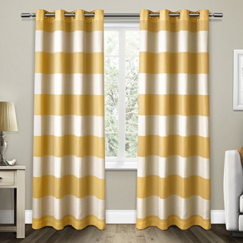 Exclusive Home Curtains Santa Monica Striped Grommet Top Window Curtain Panel Pair, Sundress, - Fabric Santa Monica
