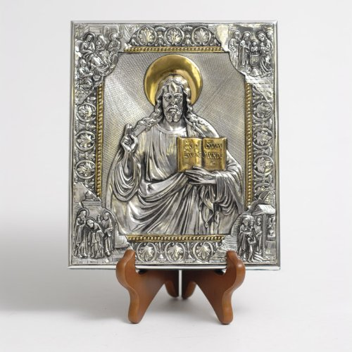 (Silver Plated Icon - The Sacred Heart of Jesus, 7x8 inches)