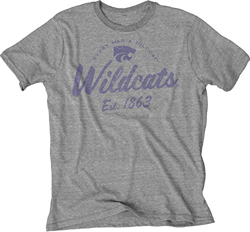 - Blue 84 NCAA Kansas State Wildcats Men's Tri-Blend T-Shirt, Heather, 2X