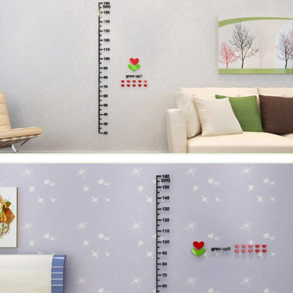 Unicoco Acrylic Children Height Chart Kid Room Ruler Measure Chart 20~160cm 3D Height Growth Wall Sticker