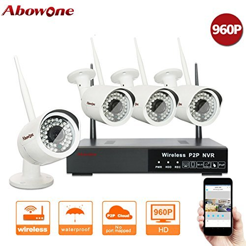 ABOWONE Wireless Security Camera System Outdoor or Indoor with Four 720P WiFi IP Cameras with Night Vision Easy Remote Access by abowone