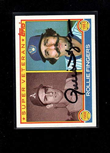 (1983 Topps #36 Rollie Fingers Authentic On Card Autograph Signature Ax8469 - Baseball Slabbed Autographed Cards)