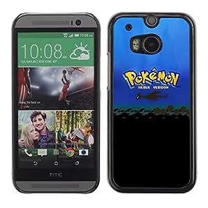 P0kemon Plata - Metal de aluminio y de plástico duro Caja del teléfono - Negro - HTC One M8