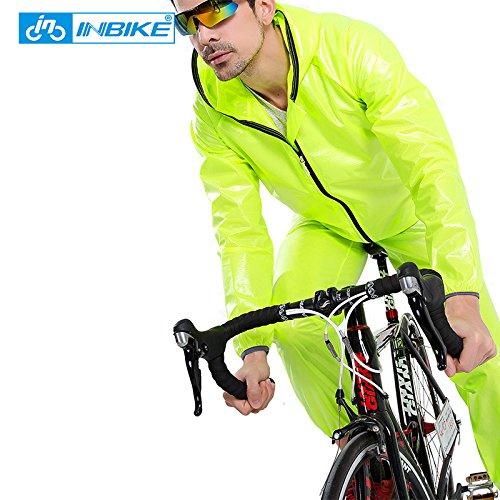 INBIKE Waterproof Cycling Jersey Raincoat Men Women Cycling Clothing MTB Riding Motocross Bike Jersey Bicycle Wind Coat (XL, Yellow)