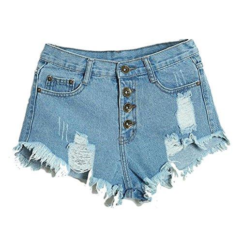 c5febdb061d8f Fedi Apparel Women s Plus Size Ripped Hole Irregular High Waisted Denim  Shorts at Amazon Women s Clothing store