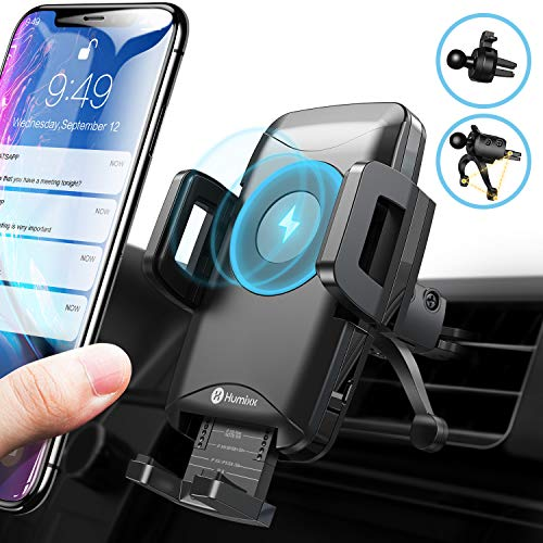 (Wireless Car Charger Mount, Humixx Adjustable Car Phone Holder for Air Vent, 10W/7.5W Qi Fast Wireless Charging Compatible with iPhone Xs Max XR X 8 7 Plus S10+ S10e S9 Note 9)
