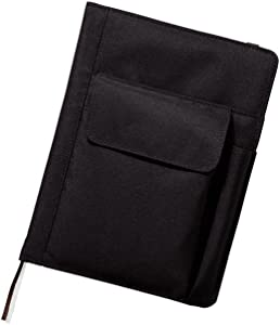LIHIT LAB. Refillable Notebook with Cover, Journal Cover, Black, A5, 8.2 x 5.8 x 1.5 inches (N1647-24)