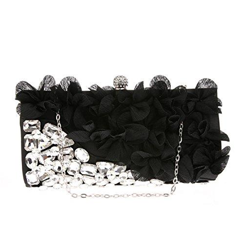 Flada bolso de embrague monedero para mujer diseño de la gasa de la flor perfecto para bodas fiesta de graduación bolsos de noche de dama de honor azul marino Negro