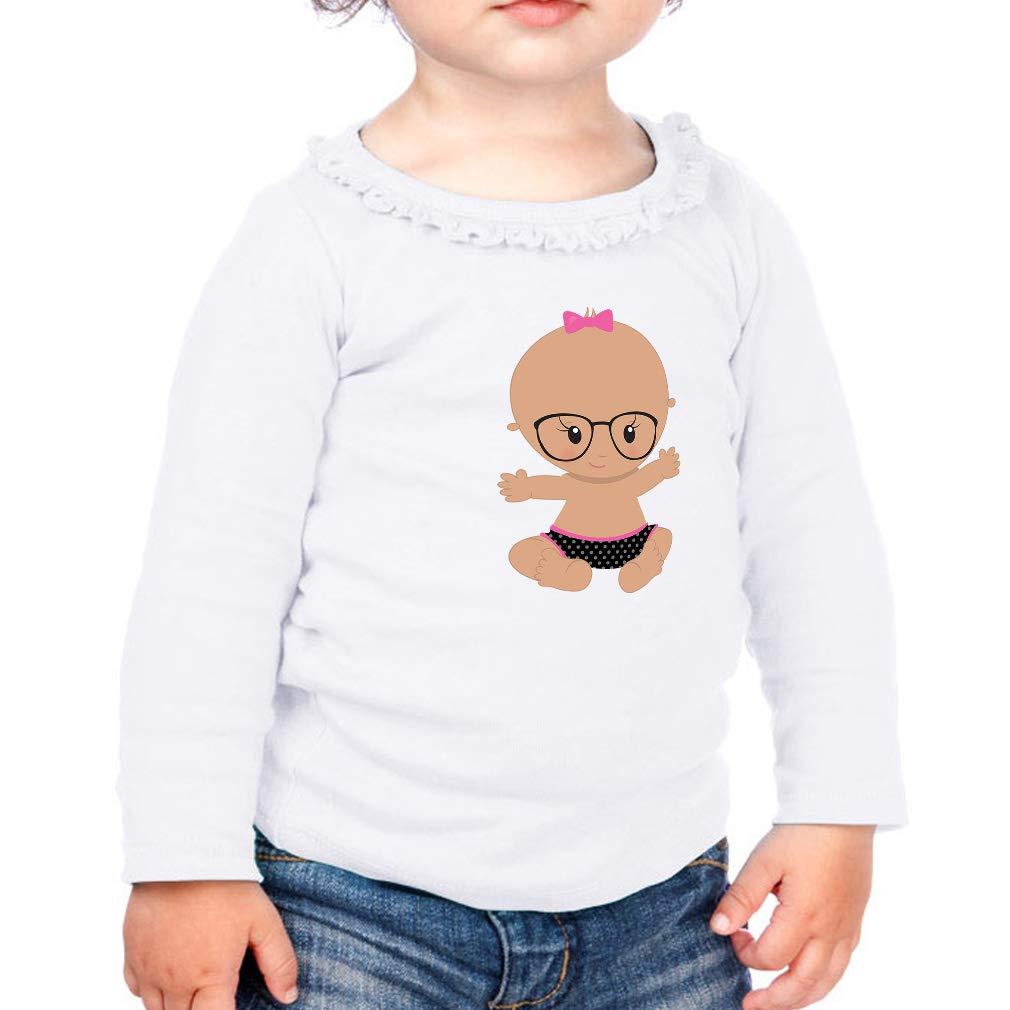 Baby Girl Glasses Miss S Cotton Girl Toddler Long Sleeve Ruffle Shirt Top