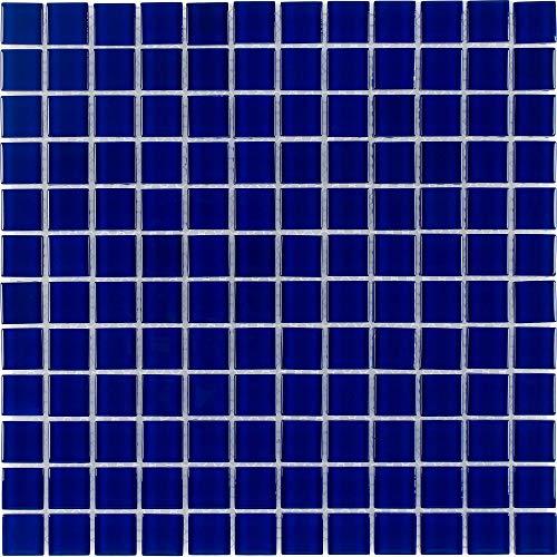 (MTO0295 | Classic Uniform Squares Blue Glass Mosaic Tile )
