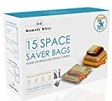 Homely Bliss Space Saver Bags - Value pack of Vacuum Storage bags, Travel Roll Up Bags and FREE pump - Compress Blankets, Pillows, Clothes up to 80% (5 Medium, 4 Large, 2 XL, 4 Travel