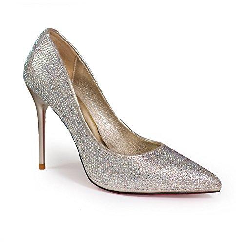 YMFIE Primavera Verano nueva multa luxury diamond puntiagudos zapatos de tacón cómodos sexy señoras parte zapatos Zapatos para banquetes.34 UE,la luz de oro 34 EU