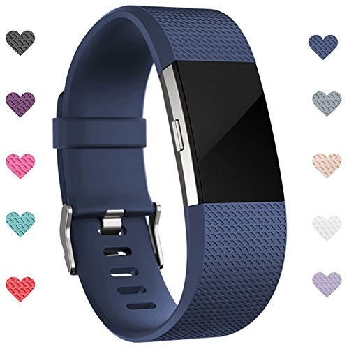Wepro hui-201  Replacement Bands for Fitbit Charge 2 HR Buckle, Blue, Large (Blue Band)