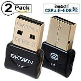 Bluetooth CSR 4.0 USB Dongle Adapter, EKSEN Bluetooth Transmitter and Receiver Support Windows 10, 8, 7, Vista, XP 32/64 Bit Laptop PC for Bluetooth Speaker, Headset, Keyboard, Etc. (Black & Black)