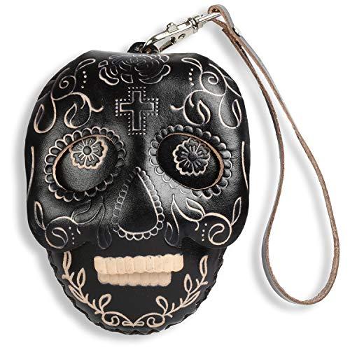 (Sugar Skull Zippered Coin Wristlet Purse Zippered Wallet Handmade Leather Gift)