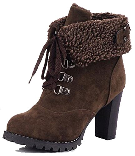 Easemax Kvinners Trendy Frostet Spenne Rund Tå Plattform Høyt Chunky Hæl Lace Up Boots Brown